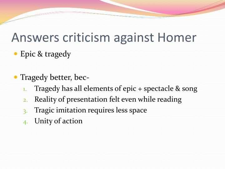 Answers criticism against Homer