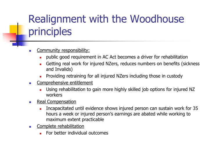 Realignment with the Woodhouse principles