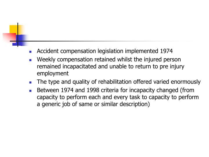 Accident compensation legislation implemented 1974