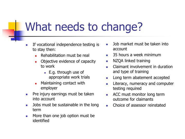 What needs to change?