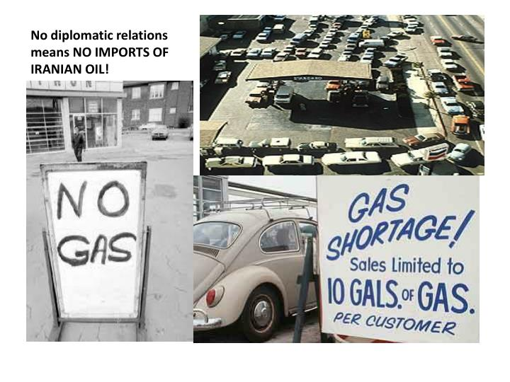 No diplomatic relations means NO IMPORTS OF IRANIAN OIL!