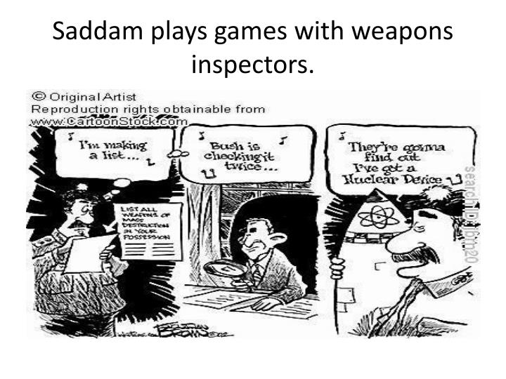 Saddam plays games with weapons inspectors.