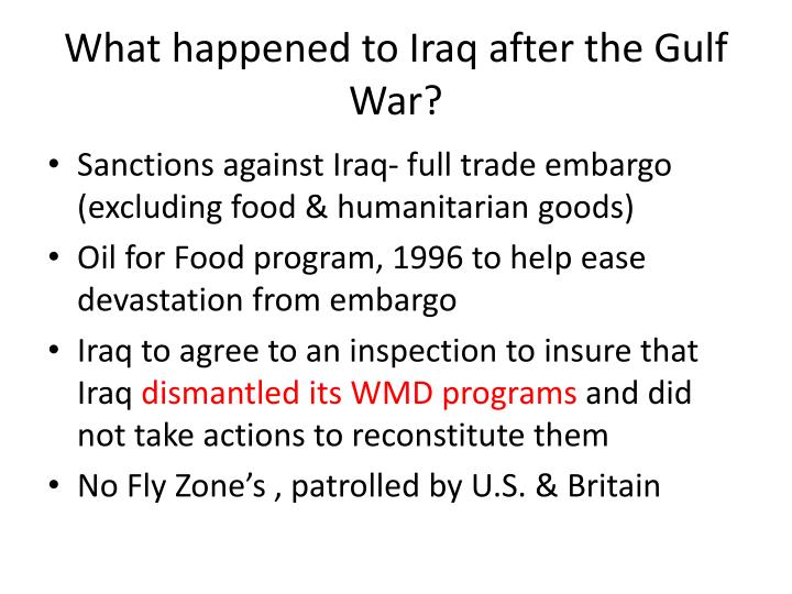 What happened to Iraq after the Gulf War?