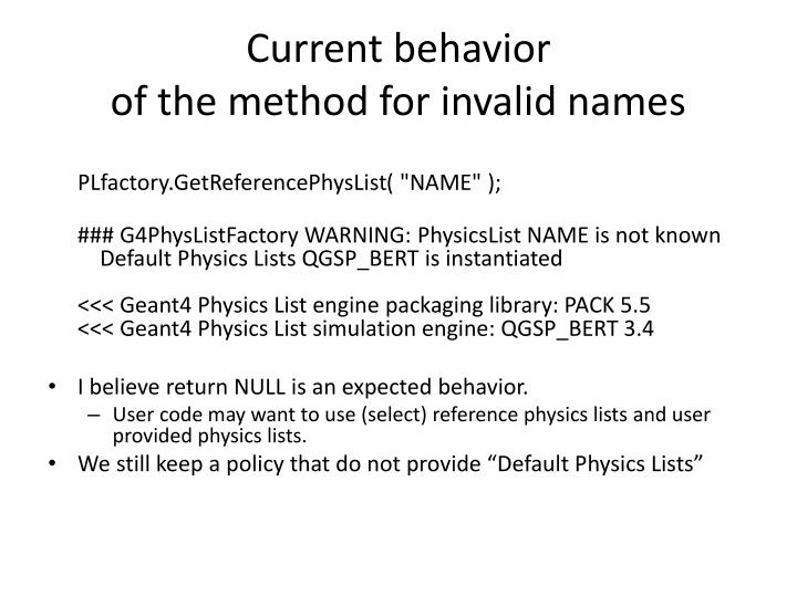 Current behavior of the method for invalid names