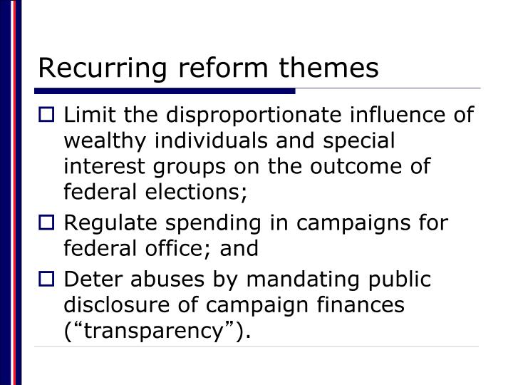 Recurring reform themes