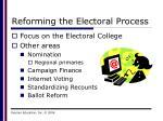 reforming the electoral process