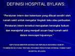 definisi hospital bylaws