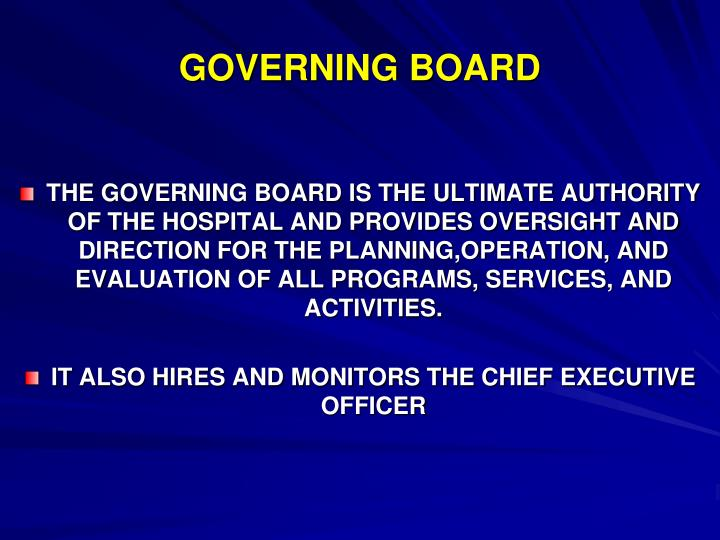 GOVERNING BOARD