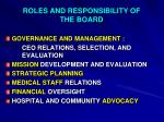 roles and responsibility of the board
