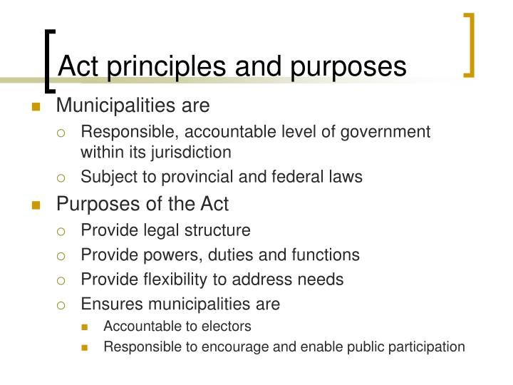 Act principles and purposes