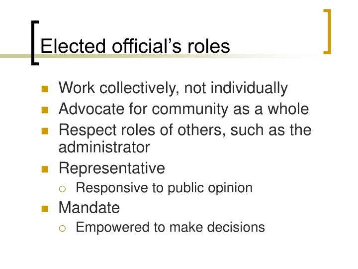 Elected official's roles
