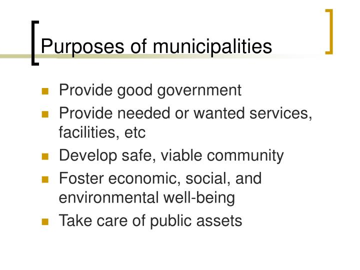Purposes of municipalities