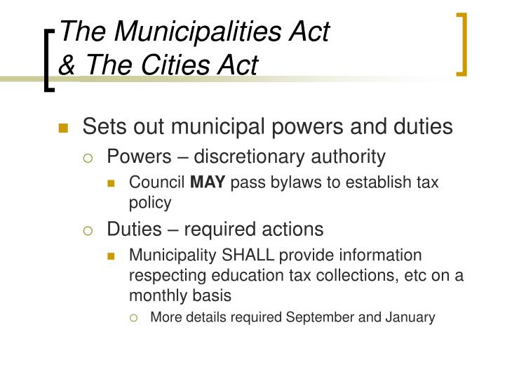 The municipalities act the cities act