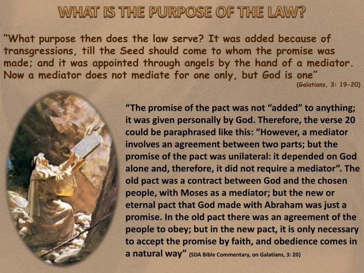 WHAT IS THE PURPOSE OF THE LAW?