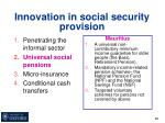 innovation in social security provision3