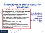 innovation in social security provision6
