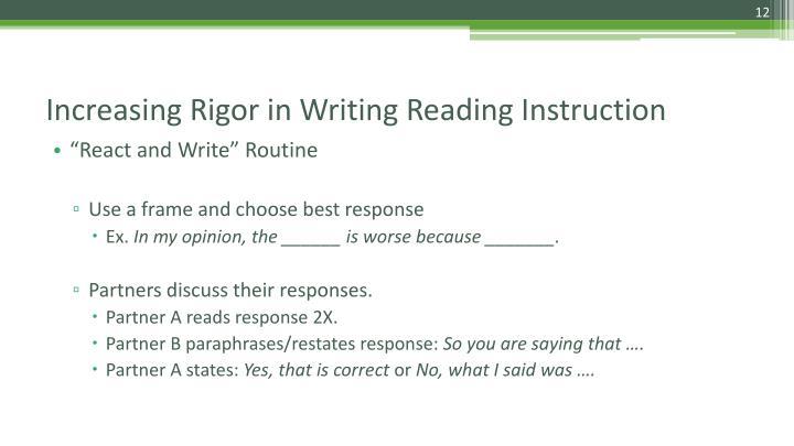 """React and Write"" Routine"