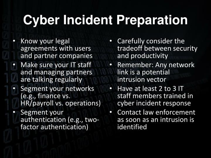 Cyber Incident Preparation