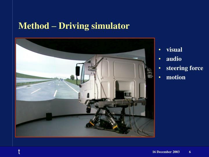 Method – Driving simulator