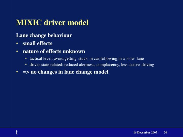 MIXIC driver model