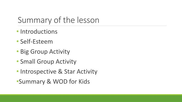Summary of the lesson