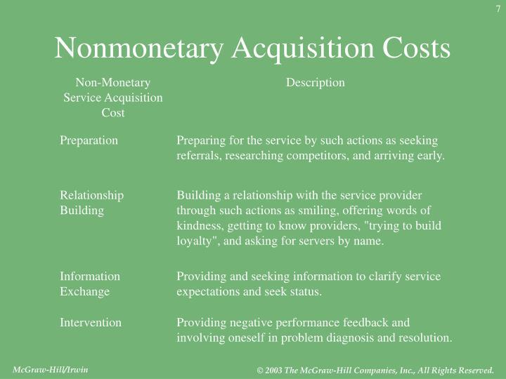 Non-Monetary Service Acquisition Cost