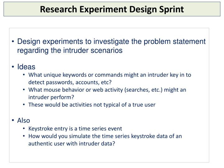 Research Experiment Design Sprint