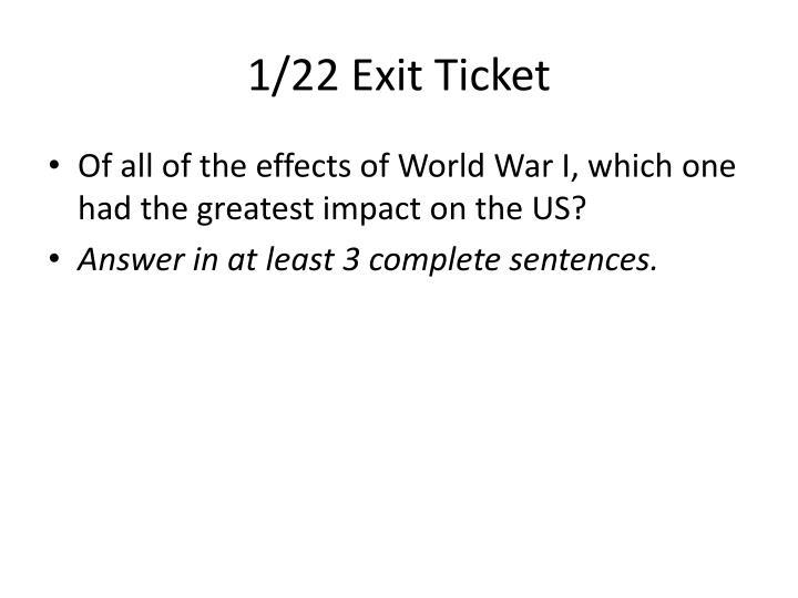 1/22 Exit Ticket