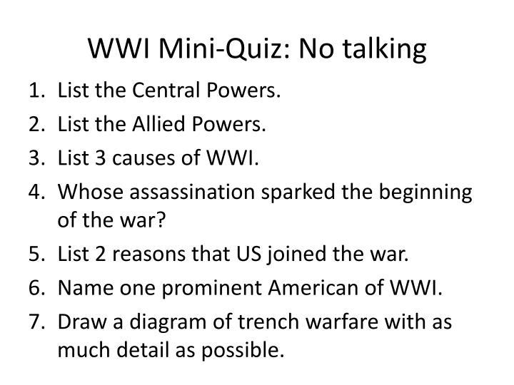 WWI Mini-Quiz: No talking