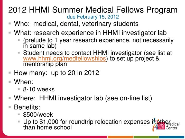 2012 HHMI Summer Medical Fellows Program
