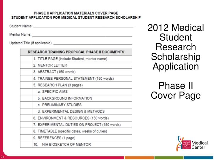 2012 Medical Student Research Scholarship Application