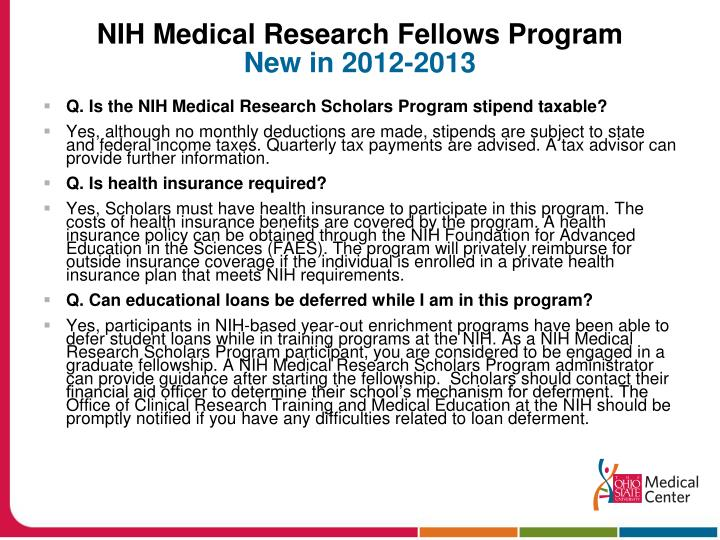 NIH Medical Research Fellows Program