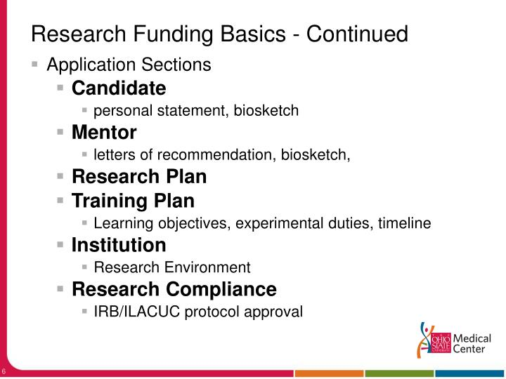 Research Funding Basics - Continued