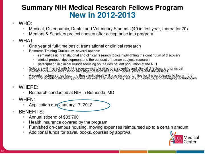 Summary NIH Medical Research Fellows Program