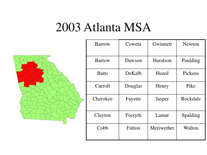 2003 Atlanta MSA