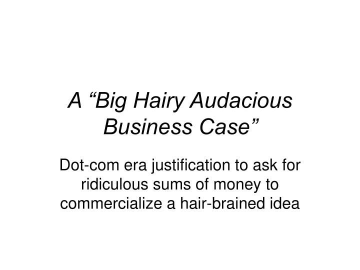 "A ""Big Hairy Audacious Business Case"""
