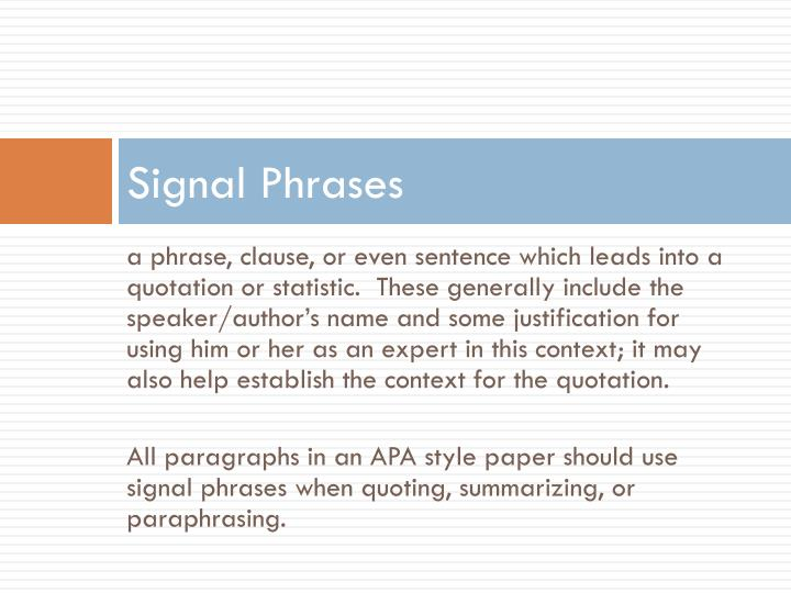 Signal Phrases