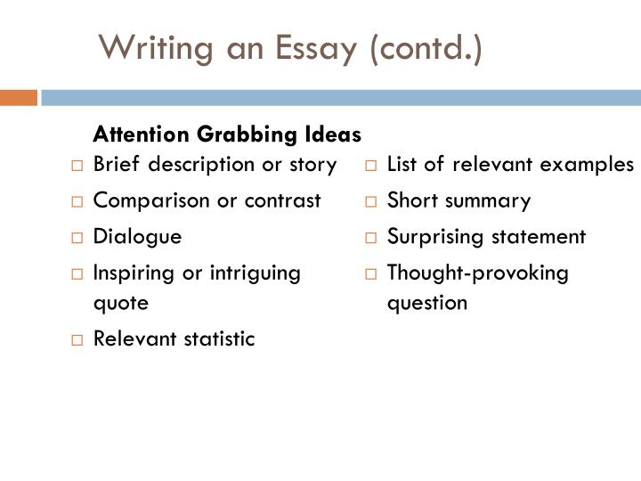 Writing an essay contd