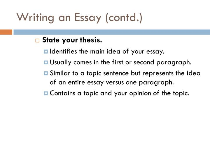 Writing an essay contd1