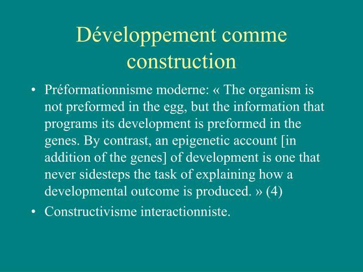 Développement comme construction