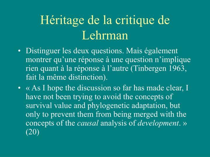 Héritage de la critique de Lehrman
