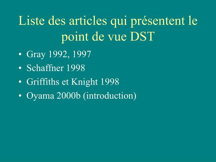Liste des articles qui présentent le point de vue DST
