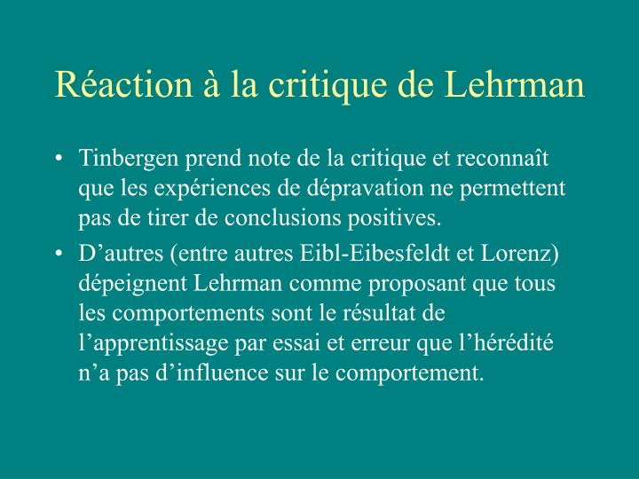 Réaction à la critique de Lehrman
