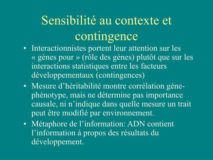 Sensibilité au contexte et contingence