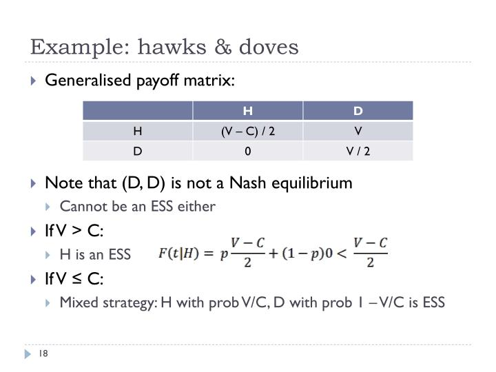 Example: hawks & doves