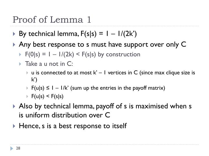 Proof of Lemma 1