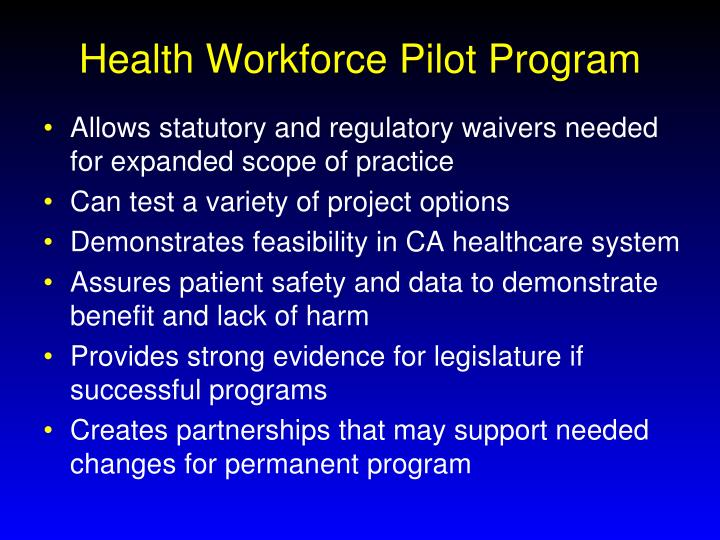 Health Workforce Pilot Program