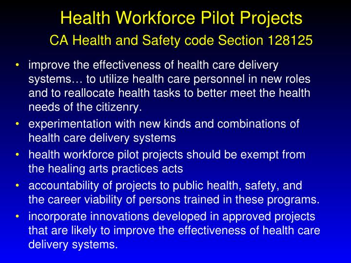 Health Workforce Pilot Projects