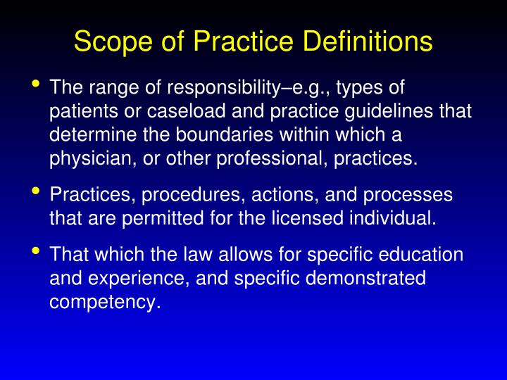 Scope of Practice Definitions