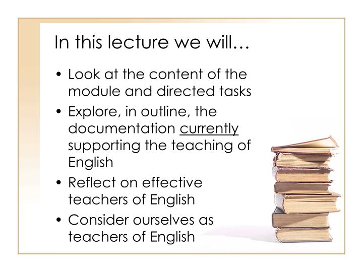 In this lecture we will…